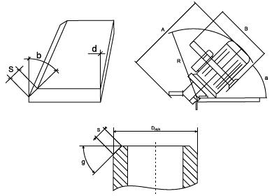 Размеры снятия фаски кромкореза ВМ-20